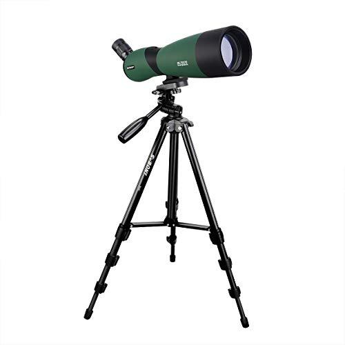 Svbony SV403 Telescopio Terrestre 25-75x70 Zoom Potente FMC Óptica Prisma Porro Telescopio Monocular con Trípode Ocular Angulado Spotting Scope para Observación de Aves Tiro con Arco
