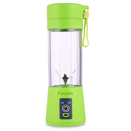 Foruisin Portable Personal Blender, Household Juicer fruit shake Mixer - Six Blades, 380ml Baby cooking machine with USB Charger Cable (Green)