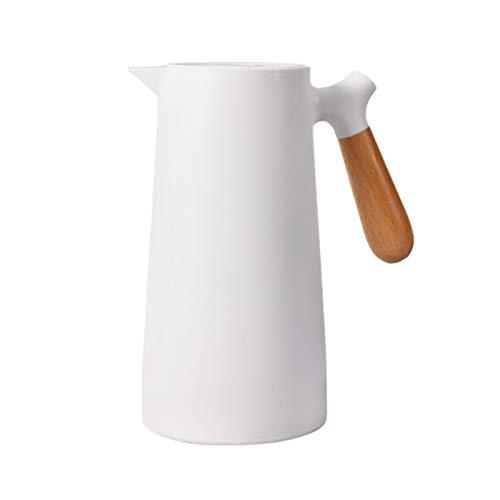 Hervidor Térmico, Termo De 1L Para El Hogar, Termo De Café, Revestimiento De Vidrio, Mango De Madera Sólida, Hervidor De Aislamiento Blanco