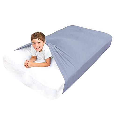 Sensory Bed Sheet for Kids Full Size Compression Alternative to Weighted Blankets - Help Increase Calm and Comfort - Breathable, Stretchy, Adjustable (Gray, Full)