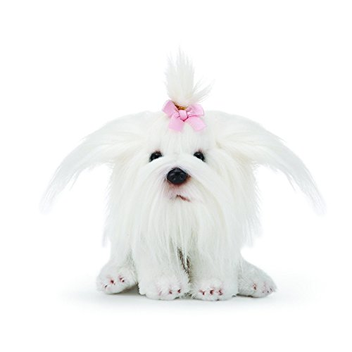 DEMDACO Maltese Dog With Bow Fuzzy White 6 Inch Plush Fabric Beanbag Figure Toy