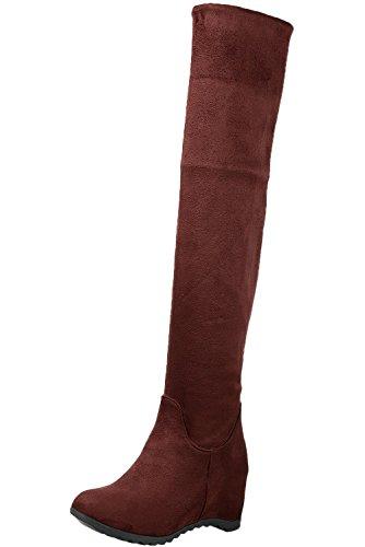 Damen Über Knie Stiefel Bequem Herbst Winter Spitzen Faltbare Warme Casual Keilabsatz Lange Stiefel Von BIGTREE Braun 33 EU