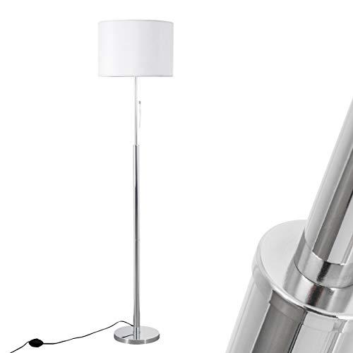 Piantana lampada a stelo metallo cromo tessuto bianco design moderno