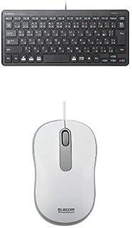 エレコム 有線超薄型ミニキーボード TK-FCP096BK & エレコム ホームセンター有線マウス(3ボタン) M-HC01URWH セット