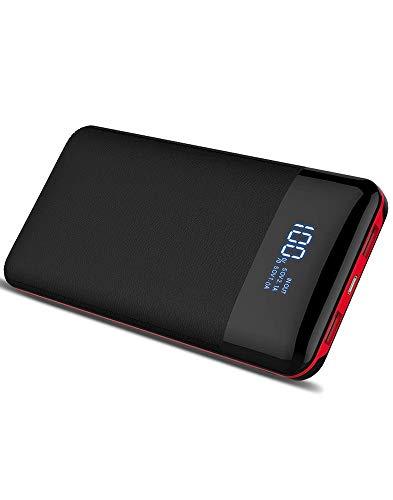Forme Power Bank 20000mAh con Display Digitale LCD Batteria Portatile Caricabatterie Powerbank 2 USB Porte 2 Porte di Entrata Batteria Esterna Compatibile con Smartphones Tablet e Altri (Nero)
