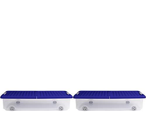Ondis24 Unterbettbox Rollerbox Aufbewahrungsbox 35 W (2 Stück, Dunkelblau)