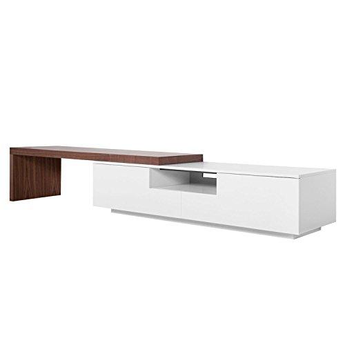 Dynamic24 XXL TV Lowboard 3,90m Sideboard Fernsehschrank Schrank Kommode Fernsehtisch weiß Walnuss Dekor