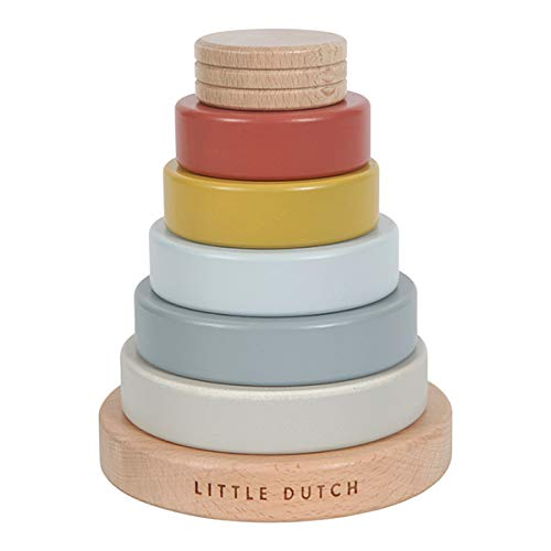 Little Dutch 4703 FSC Holz Ring Stapelturm Pure & Nature Vintage rot...