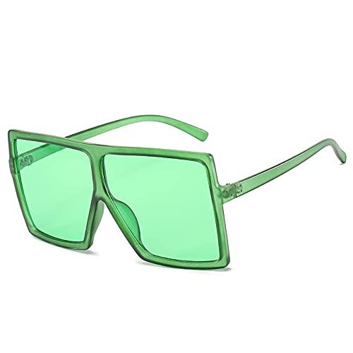HAIGAFEW Tonos Negros para Mujer Gafas De Sol Cuadradas Gafas De Gran Tamaño para Mujer Gafas De Sol Grandes Y Grandes para Mujer Gafas Uv400 Proteger Los Ojos-Verde