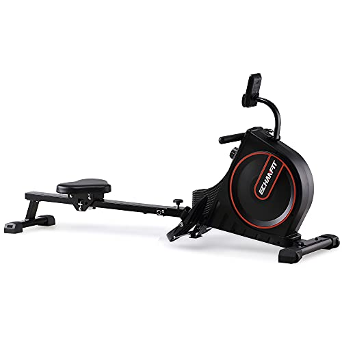 ECHANFIT Rowing Machine 350 LBS Weight Capacity Folding Rower with 16 Levels Magnetic Resistance and Adjustable Console Angle for Cardio Training at Home