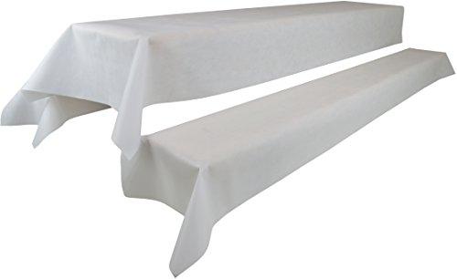 Bierzeltgarnitur 1 Tischdecke (Farbe & Breite nach Wahl) (1 x 2,5m, weiß) und zwei weiße Bankauflage(0,55 x 2,5m), aus stoffähnlichem Vlies, Öko-Tex 100, ideal für jede Party, Catering, Vereinsfeier, Hochzeit, Geburtstagsfeier