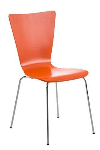 CLP Stapelstuhl Aaron Ergonomisch Geformter Konferenzstuhl Mit Holzsitz Und Metallgestell I Platzsparender Stuhl Mit Pflegeleichter Sitzfläche, Farbe:orange