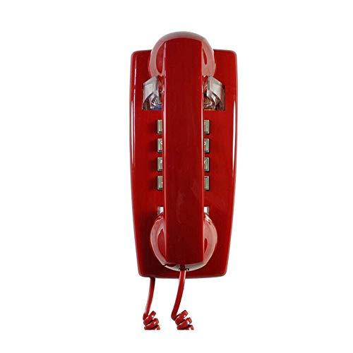 LIUNA Teléfono Retro con Cable, Teléfono Antiguo Montado En La Pared, Teléfono Retro Clásico para Baño/Teléfono Clásico De Plástico, con Luz, Tricolor(Color:Rojo)