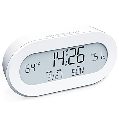 AYRELY Digital Battery Operated Multifunctional Small Clock Alarm Clock with Light,Snooze,Calendar,Indoor Temperature&Humidity,12/24Hr for Desk,Travel,Bedroom,Bathroom,Office,Heavy Sleepers,Kids