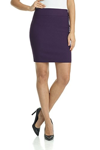 Rekucci Women's Ease Into Comfort Above The Knee Stretch Pencil Skirt 19 inch (Large,Deep Plum)