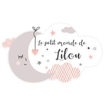 Sticker Porte Prénom Personnalisable Rose Le Petit Monde de. - Dimensions 25x15cm - Adhesif Permanent Brillant