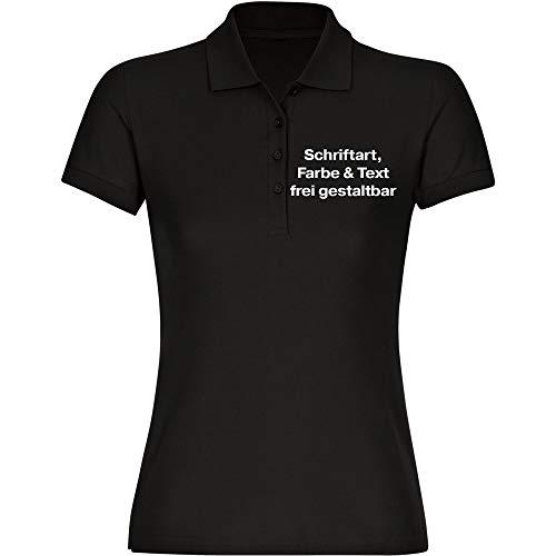 Damen Poloshirt Druck vorne (Anpassung von Text, Schriftart, Schriftfarbe und Artikel Farbe) - Größe S bis 2XL - Bedrucken Wunschtext Shirt Frauen, Größe:XL