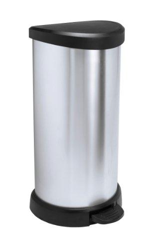 Curver 181125 Cubo de basura con pedal 40L, Metal, 30.9 x 34.9 x 69.7 cm