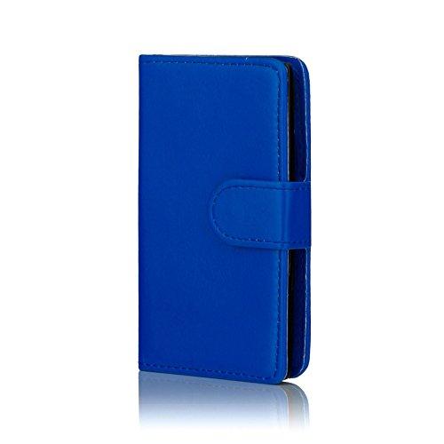 32nd PU Leder Mappen Hülle Flip Case Cover für Nokia Lumia 530, Ledertasche hüllen mit Magnetverschluss & Kartensteckplatz - Blau