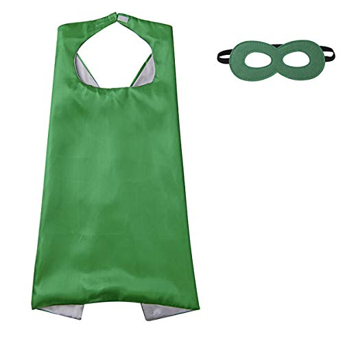 Diffly Kids Fancy Dress Superhero Cape with Mask for Boys and Girls (Green)