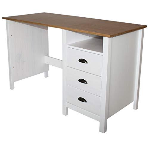 KMH®, Schreibtisch Sven im modernen Design aus Massivholz gefertigt (120 x 54 cm) (#201133)