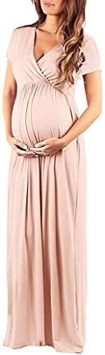 ShangSRS Abiti in Tinta Unita Casual Vestito Gravidanza Elegante Cerimonia Premaman Abbigliamento Foto Abito da Sera con Scollo A V Dress Allattamento Maternity Dress per Estivi (Rosa, S)