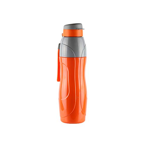 Sports Water Bottle BPA Free 30 Oz (900 ml) Puro Sports Leak Proof Ergonomic Bottle with Wide Mouth and Easy Flip Top Cap for Office, Gym, Swimming, Running Reusable Drinking Containerby Cello(Orange)