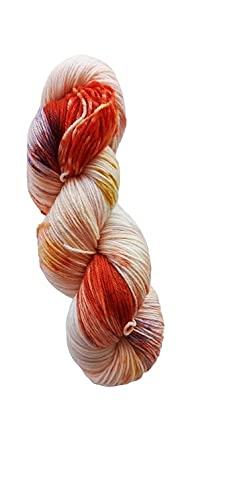 Calcetines de lana merino teñidos a mano, 100 g, aprox. 420 m, 75% lana virgen (merino) y 25% poliamida.