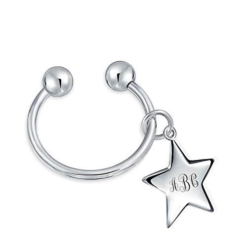 Personalizado Star Shape Id Tag Llavero Grabable Bola Tornillo Consejos Herradura Llavero Anillo Pulido Acabado Personalizado Grabado