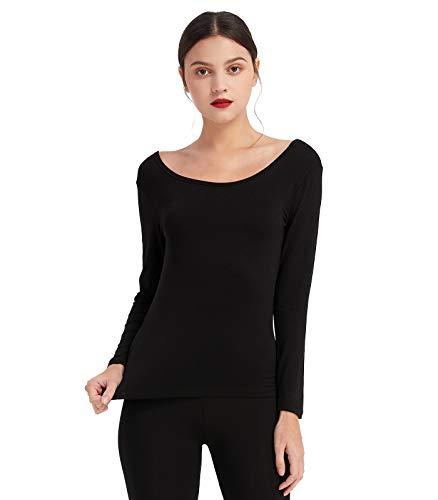Mcilia Camiseta Interior para Mujer de Capa Térmica Modal de Manga Larga con Cuello Redondo Bajo Negro Medium (EU 40 42)