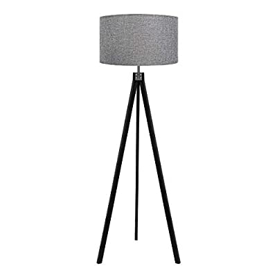 LEPOWER Wood Tripod Floor Lamp, Flaxen Lamp Shade with E26 Lamp Base, Mid Century Standing Lamp, Modern Design Studying Light for Living Room, Study Room and Bedroom(Black)