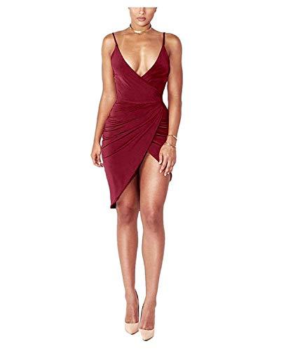 DRESHOW Damen Sexy Tief V Ausschnitt Kleid Träger Rückenfreies Kleider Sommerkleider Figurbetontes Wickelkleid Cocktailkleid Midi Club Kleid S Wine Red 1