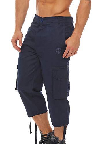 Gennadi Hoppe Herrren Cargo 3/4 Capri Hose Pant, robuste Freizeit Hose,blau,Large