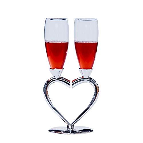 KJGHJ Champagne Tostado Flautas Accesorios De Boda, Amor Vinculado, Conjunto De 2, Plata, Flautas De Champagne