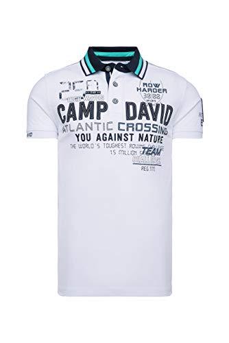 Camp David Herren Poloshirt mit vielen Artworks und Tapes