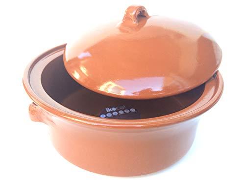 Ikocat® - Casseruola in terracotta, diametro 32 cm, pentola artigianale in vetroceramica