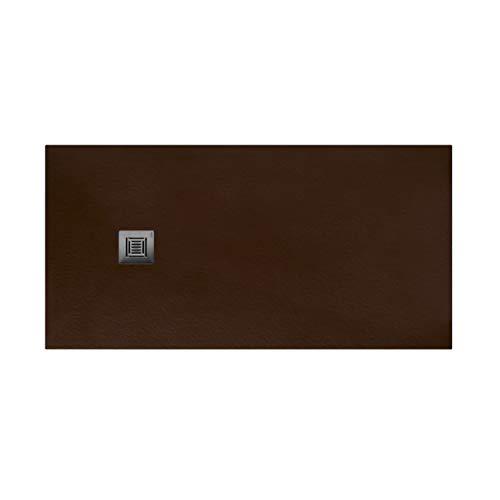 Plato de ducha rectangular de 160 x 80 x 3 centímetros, con válvula de desagüe, colección Suite N, color chocolate (Referencia: 6348644)