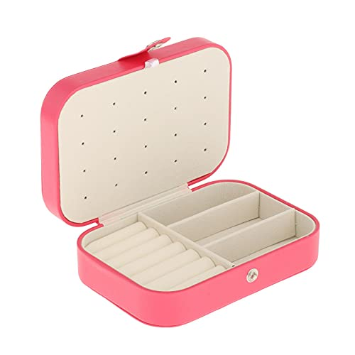 Hellery Caja de joyería de Viaje pequeña Organizador de Doble Capa Caja de Almacenamiento de exhibición niñas Mujeres Regalos para Anillos Pendientes - Rojo melocotón