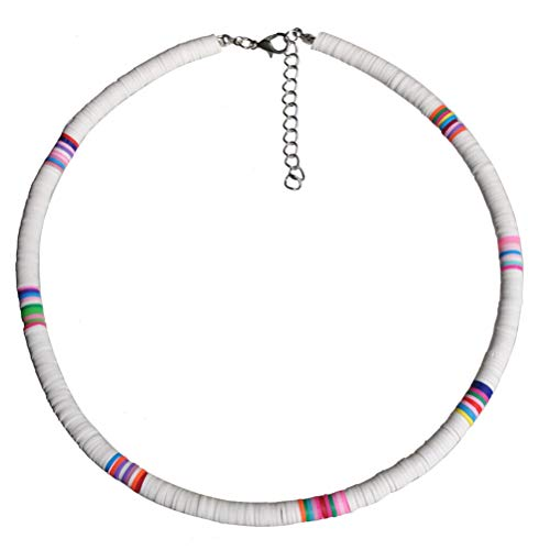 Holibanna Boho Choker Necklace Polymer Clay Choker Beach Party Necklace for Women Jewelry Gift (White 6mm)
