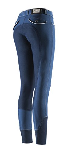 Equi-Theme/Equit'M 979578738 Verona, Ekkitex-Pantaloni da Equitazione Unisex-Adulto, Contrasti e tubazioni Blu Navy/Beige, Taglia Unica