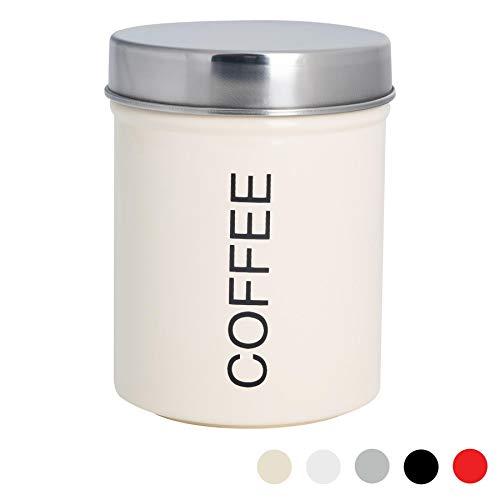 Harbour Housewares Boîte à café métallique - Joint en Caoutchouc sûr - crème