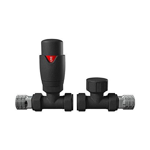 Home Standard para toalleros calefactados y radiadores de calefacci/ón Central V/álvula termost/ática para radiador de Antracita Recta TRV y v/álvula de Bloqueo