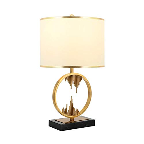 HTL Tischlampen, Runde Metalltischlampen, Marmorfuß Kupfer-Leselampen E27 Energiesparender Augenschutz Nachtlicht-Schreibtischlampen Warm (Farbe: Gold, Größe: 32 * 58 Cm),Gold,32 * 58 cm