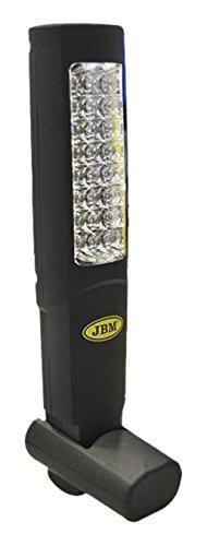 JBM 51889 Portátil de taller 30 leds con batería recargable con doble imán, cuña de apoyo y base imantada, NEGRO
