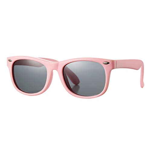 Kids Polarized Sunglasses TPEE Rubber Flexible Shades for Girls Boys Age 3-9 (Pink Frame/Grey Lens)