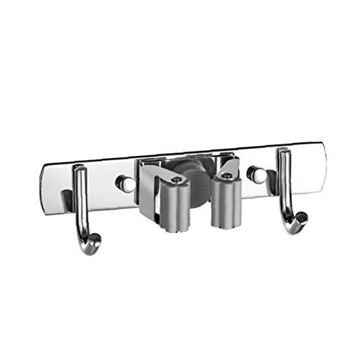 Mop Rack, Mop Storage Box, Broom Rack, Wall-mounted Stainless Steel Multifunctional Storage Tools, 1 Clip and 2 Hooks