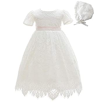 Meiqiduo Baby Girls Lace Dress Christening Baptism Gowns Outfit with Bonnet  3M/3-6 Months Ivory