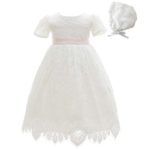 Meiqiduo Baby Girls Lace Dress Christening Baptism Gowns Outfit with Bonnet (6M/6-12 Months, Ivory)