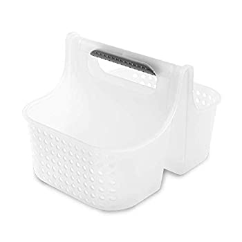 madesmart Small Soft Grip Tote - Frost Grey | BATH COLLECTION | 2-Compartments | Thick Handle for Carry-comfort | Multi-use Storage for Bath and Beauty Accessories | BPA-Free