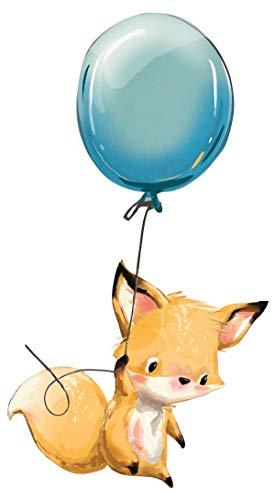 dekodino® Wandtattoo Aquarelltiere Baby Fuchs mit Luftballon Kinderzimmer Deko